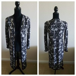 Hot Topic Black and Gray Floral Cardigan Duster